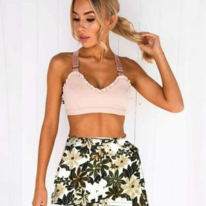 🐞🐞 Bebe Brown Floral Hawaiian Mini Skirt
